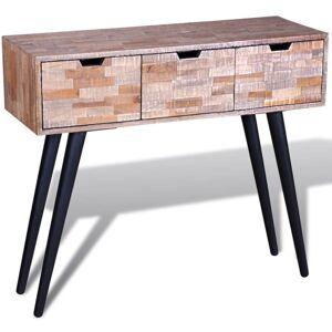 VIDAXL Mesa consola con 3 cajones de madera de teca reciclada - Marrón - Vidaxl