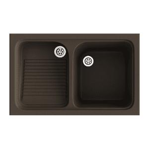 Poalgi Lavadero de 1 cuba con escurridor Brown 802 x 500 mm Cuarzo Basic Poalgi