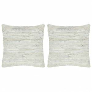 VidaXL Cojines Chindi 2 unidades cuero y algodón gris claro 45x45cm Vida XL