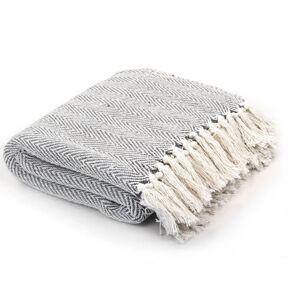 VidaXL Manta en espiguilla 220x250cm algodón gris Vida XL