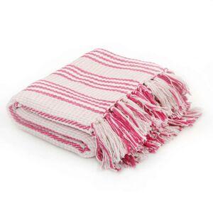 VidaXL Manta a rayas 125x150cm algodón rosa y blanco Vida XL