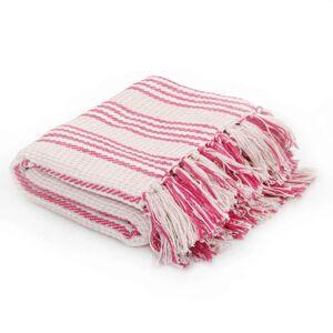 VidaXL Manta a rayas 160x210cm algodón rosa y blanco Vida XL