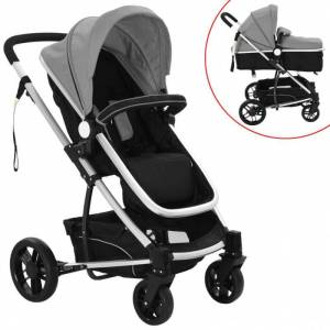 VidaXL Cochecito/Silla de bebé 2 en 1 aluminio gris y negro Vida XL