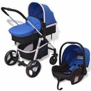 VidaXL Cochecito de bebé 3 en 1 azul y negro aluminio Vida XL