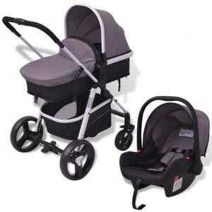 VidaXL Cochecito de bebé 3 en 1 gris y negro aluminio Vida XL