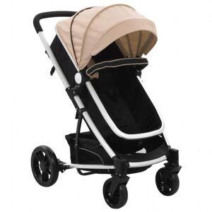 VidaXL Cochecito/Silla de bebé 2 en 1 aluminio gris taupe y negro Vida XL