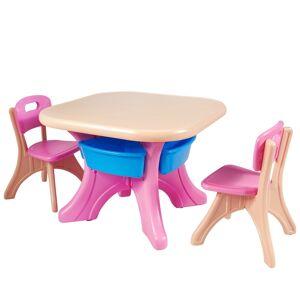Costway Conjunto de Mesa y 2 Sillas Muebles infantil Mesa para Niño PE Ecológico Proceso de Soplado de Vidrio Grande Capacidad de Peso Ligero de Despl
