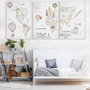 Pack de láminas decorativas & 39;Mapamundi travel gris& 39;