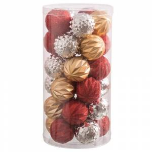 LOLA home Set de 30 bolas de Navidad surtidas brillo mate y purpurina de plástico multicolor de Ø 6 cm