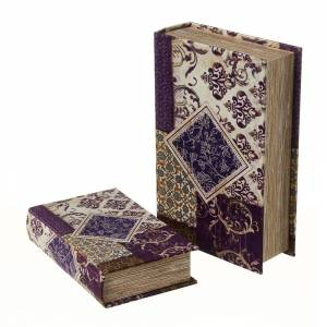 LOLA home Set de 2 cajas libro de seda y DM arabesca lila