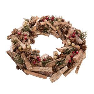 LOLA home Corona de Navidad marrón de ramas y tronquitos madera natural de Ø 30 cm