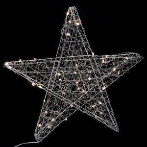 LOLA home Estrella led de Navidad con 20 luces plateada de alambre a pilas de Ø 50 cm