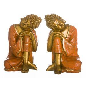 LOLA home Set de 2 figuras de buda de resina doradas