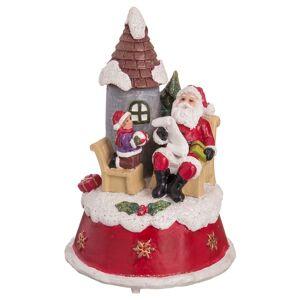 LOLA home Figura de Papá Noel de Navidad con casita de resina roja de Ø 10x16 cm