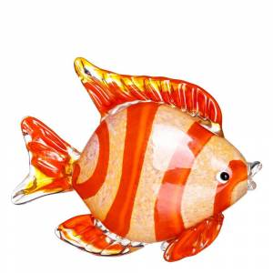 LOLA home Figura pez de cristal naranja de 21x7x19 cm