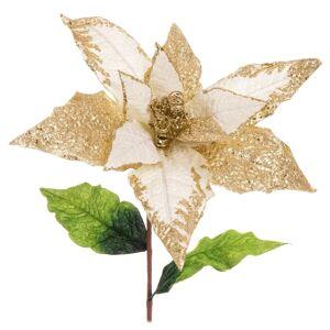 LOLA home Flor de Navidad artificial beige de tela de 90 cm