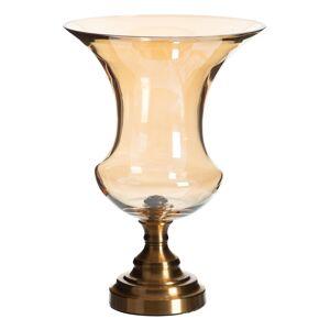 LOLA home Jarrón copa de cristal y metal dorado de Ø 27x39 cm