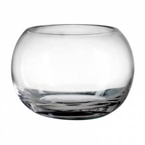LOLA home Jarrón pecera de cristal transparente de Ø 20x14 cm