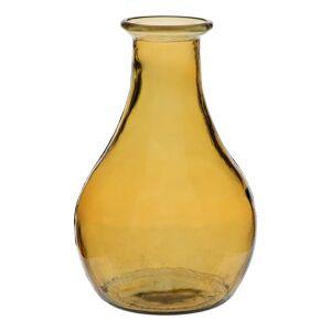 LOLA home Jarrón tintado transparente de vidrio reciclado amarillo de Ø 20x32cm