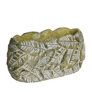 LOLA home Macetero de hojas de cemento verde exótico, de Ø 29x14 cm