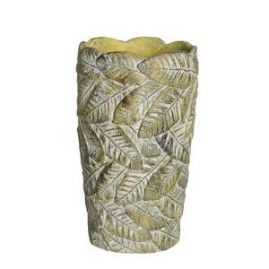 LOLA home Macetero de hojas de cemento verde exótico, de Ø 15x27 cm