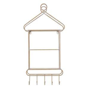 LOLA home Percha 2 estantes blanco y natural de metal de 43x13x84 cm