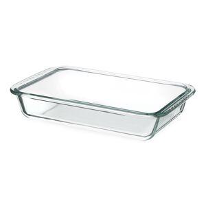 LOLA home Bandeja horno rectangular de vidrio pyrex transparente de 1980 ml