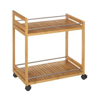 LOLA home Carro con 2 baldas de bambú marrón nórdico de 55x32x62 cm