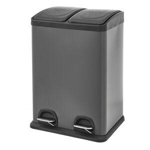 LOLA home Papelera de reciclado con 2 compartimentos gris de metal y PP de 41x35x59 cm