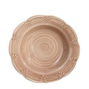 LOLA home Plato hondo espiral beige de porcelana stoneware de ø 23 cm