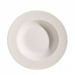 LOLA home Plato hondo flores en relieve blanco porcelana de ø 22 cm
