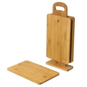 LOLA home Set de 4 tablas de cortar con soporte de bambú natural de 14x32 cm