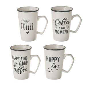 LOLA home Set de 4 taza mug con frases blancas de porcelana de 420 ml