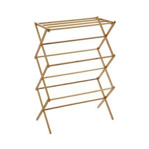 LOLA home Tendedero plegable de bambú natural de 74x36x105 cm