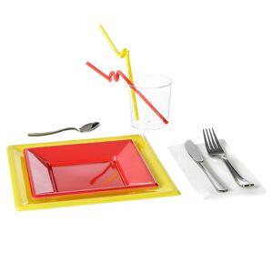 LOLA home Vajilla desechable roja de plástico para 6 personas