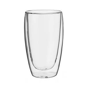 LOLA home Vaso doble refresco de vidrio pyrex transparente de 450 ml