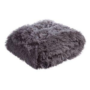 LOLA home Manta gris claro de pelo largo de poliéster de 170x130 cm