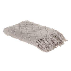 LOLA home Manta gris de sofá con rombos de lana de 127x152 cm