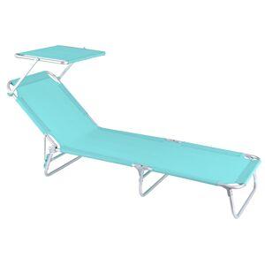 LOLA home Tumbona playa cama con parasol de 3 posiciones aguamarina de aluminio y textileno de 190x58x25 cm