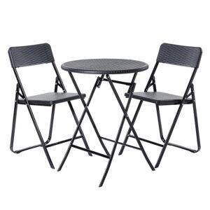 LOLA home Conjunto mesa y 2 sillas de jardín Logic plegable negro de acero y rattán sintético
