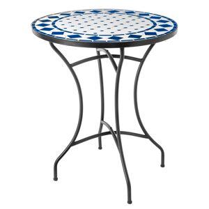 LOLA home Mesita de jardín con mosaico Delfos de cerámica blanca y azul de Ø 60x72 cm