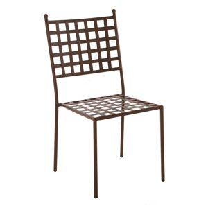 LOLA home Silla de jardín Cartago apilable de hierro marrón óxido de 90x55x48 cm