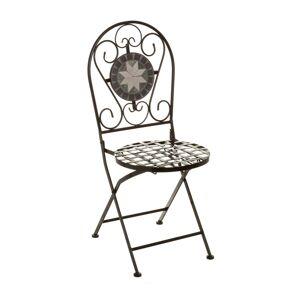 LOLA home Silla de jardín de metal cerámica negra y gris rústico de 92x38x38 cm