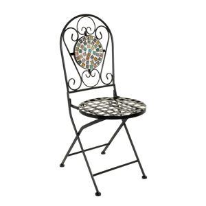 LOLA home Silla con mosaico para exterior de hierro y cerámica multicolor rústica, de 38x38x92 cm