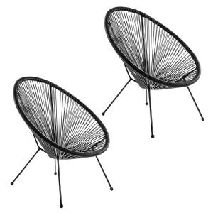 LOLA home Pack de 2 sillones de jardín Acapulco de rattán y metal negros de 73x80x85 cm