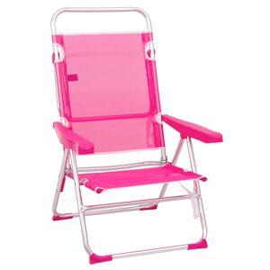 LOLA home Silla de playa con brazos reclinable rosa de aluminio de 100x61x56 cm