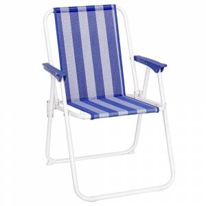 LOLA home Silla de playa plegable azul marino y blanca hierro de 75x53x46 cm