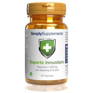 Simply Supplements Soporte Inmunitario con Vitamina C, Vitamina D y Zinc - 60 Cápsulas