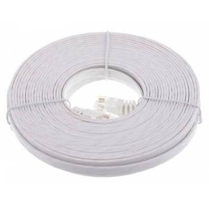 Lindy Cat6 Flach-Cable 10m White Blanco