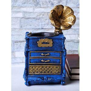 A Vintage Affair- Home Decor Blue Vintage Gramophone Cabinet Desk Organizer